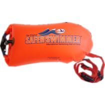 Swim Buoy by SaferSwimmer™ with Water Bottle Cage & 20L Dry Bag (Orange color)