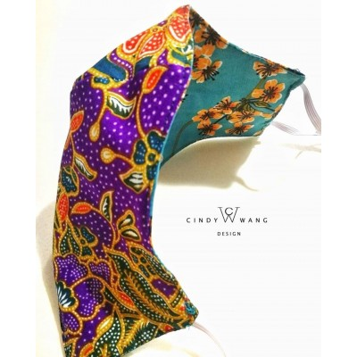 [Made in Malaysia] Double Sided Invertible Batik Floral Print Breathable Washable Face Mask by CW Design