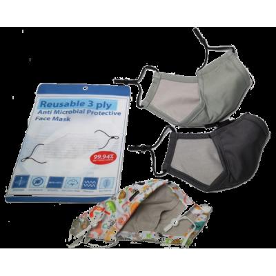 3 Ply Reusable Anti Bacteria Face Mask + Virus Filtration sheet Promo Pack