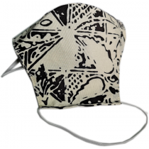 Tri-ply, Durable, Reusable Face Mask With White & Black Batik Material
