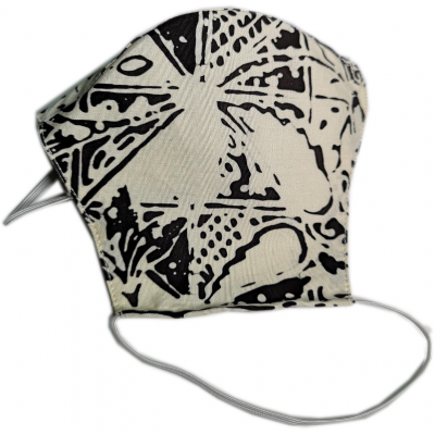Tri-ply, Durable, Reusable Face Mask With White & Charcoal Batik Material