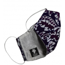 Tri-ply, Durable, Reusable Face Mask Lightweight Washable Batik Fashionable Purple Blue