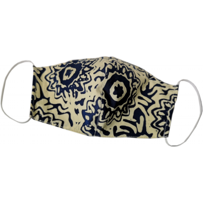 Tri-ply, Durable, Reusable Face mask lightweight, breathable, washable Blue and Cream Batik