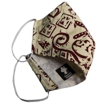Tri-ply, Durable & Reusable Face Mask With Cream and Maroon  Batik Material