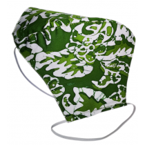 Tri-ply, Durable & Reusable, Light-weight Face Mask, in Green and White Batik