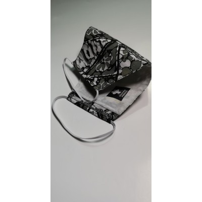 Tri ply, Durable, Reusable Face Mask Breathable Washable Batik in Black and Grey tone