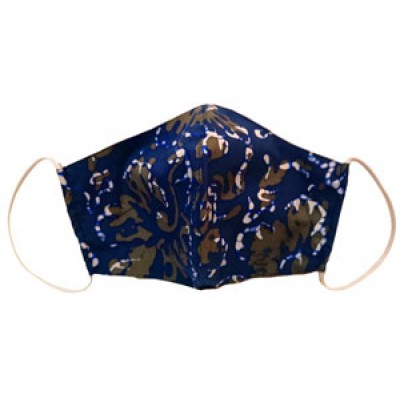 Tri-ply, Durable, Reusable Face Mask Breathable Washable Batik Blue Green Camouflage