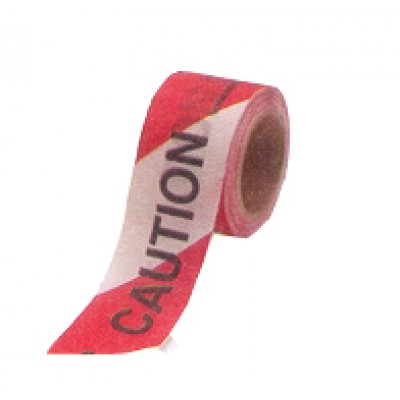Red and White Warning Caution Barrier Tape